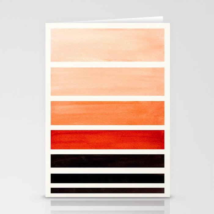 Brown Minimalist Watercolor Mid Century Staggered Stripes Rothko Color Block Geometric Art Stationery Cards