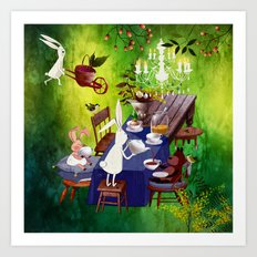 Bunny Tea Party in forest Art Print