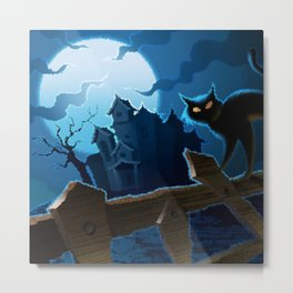 Halloween Cat Nightmare Metal Print