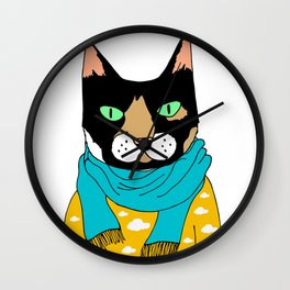Cat with a scarf Wall Clock
