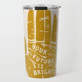 Your Future is Bright Hand Drawn Palmistry Illustration     Yellow on Ivory   Alex Gold Studios Travel Mug