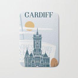 Cardiff vintage poster travel Bath Mat