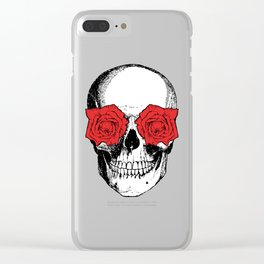 Skull and Roses | Skull and Flowers | Vintage Skull | Grey and Red | Clear iPhone Case