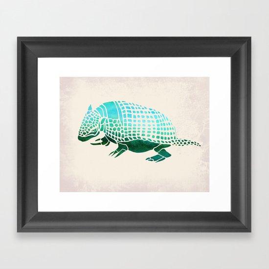 Watercolor Armadillo Framed Art Print