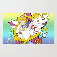 sailor moon Area & Throw Rugs featuring Sailor Moon by Maggie Davidson