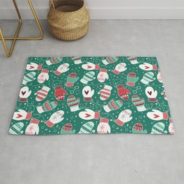 Winter Christmas Mittens Pattern Rug
