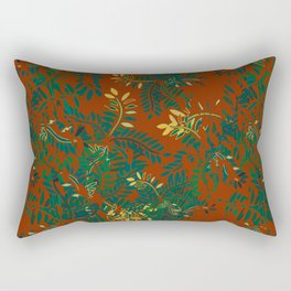 Leafy Madness on Brown Rectangular Pillow