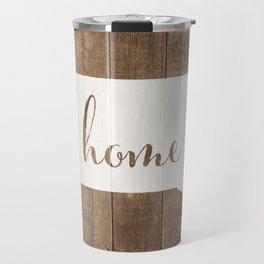 South Dakota is Home - White on Wood Travel Mug