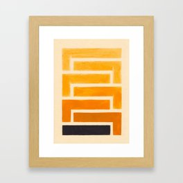 Yellow Ocher Mid Century Pattern Framed Art Print