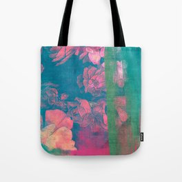 Rose Garden Blue 5- Texture Rose Study in red emerald green scarlet indigo watercolor wash Tote Bag