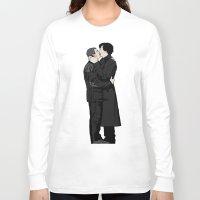 johnlock Long Sleeve T-shirts featuring Kissing Sherlock and John by br0-harry