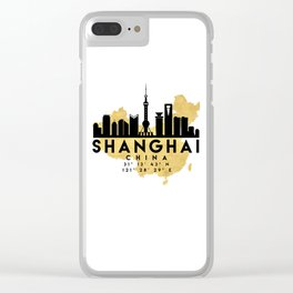 SHANGHAI CHINA SILHOUETTE SKYLINE MAP ART Clear iPhone Case