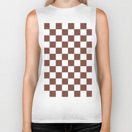 Checkered (Brown & White Pattern) Biker Tank