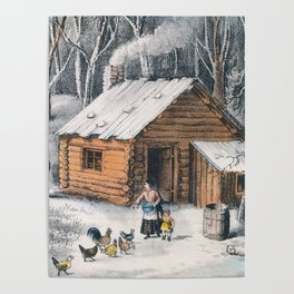 Vintage Home in The Wilderness Painting (1870) Poster