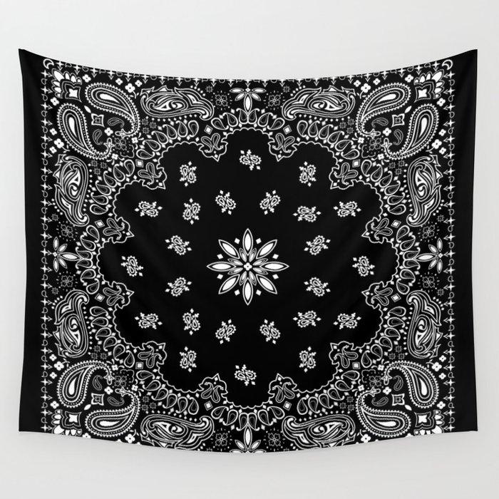 Black And White Bandana Pattern Wall Tapestry By Martaolgaklara Impressive Bandana Pattern