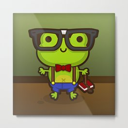 Hermes the Nerdy Frog Metal Print
