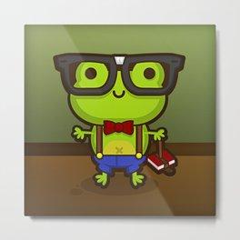 Hermes the Nerdy Frog Metal Print