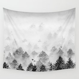 B&W Majestic Forest   Watercolor Wall Tapestry