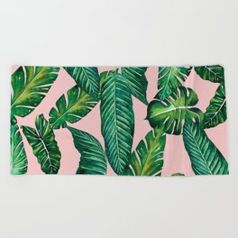Jungle Leaves, Banana, Monstera II Pink #society6 Beach Towel