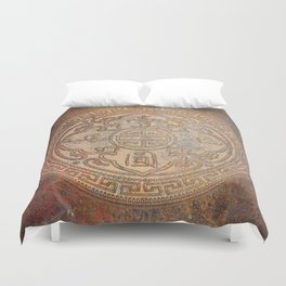 Antic Chinese Coin on Distressed Metallic Background Duvet Cover