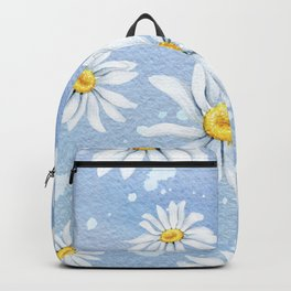Spring Daisies On Sky Blue Watercolour Backpack
