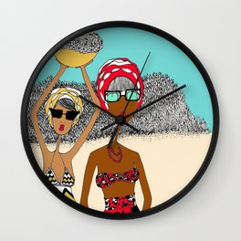 Earthlings Picking Flowers Wall Clock