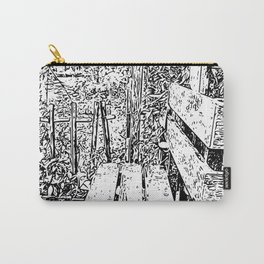 Wooden bench - Special place carved in white and black Carry-All Pouch