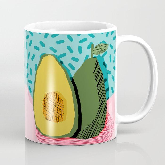 Choice - wacka memphis throwback retro neon fruit avocado vegetable vegan vegetarian art decor Coffee Mug