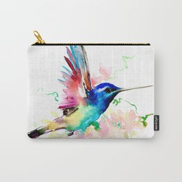 Hummingbird , Blue Turquoise Pink Carry-All Pouch