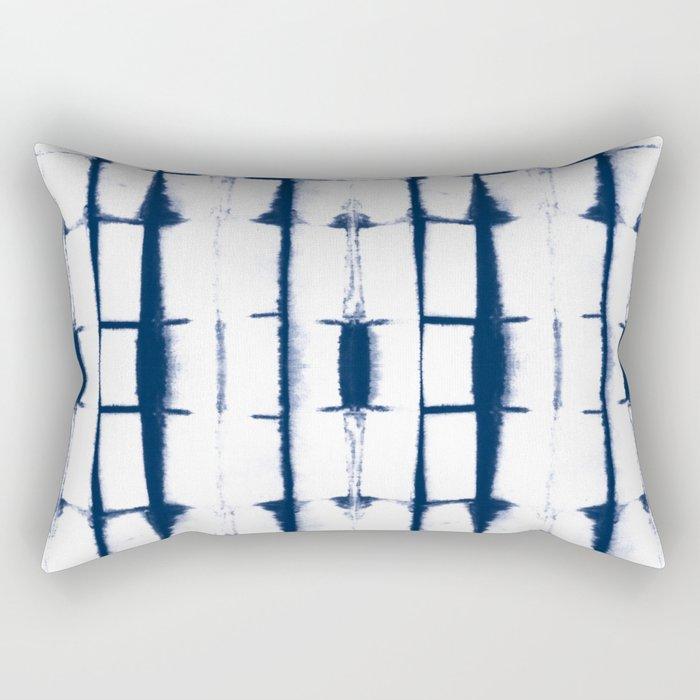 Shibori Stripes 4 Indigo Blue Rectangular Pillow