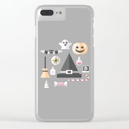 Pumpkin, witches hat, ghost, bat and all other Halloween essentials Clear iPhone Case