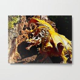 Golden Dragon Laughs Metal Print