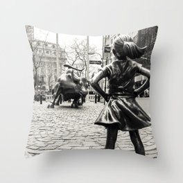 Fearless Girl & Bull - NYC Throw Pillow