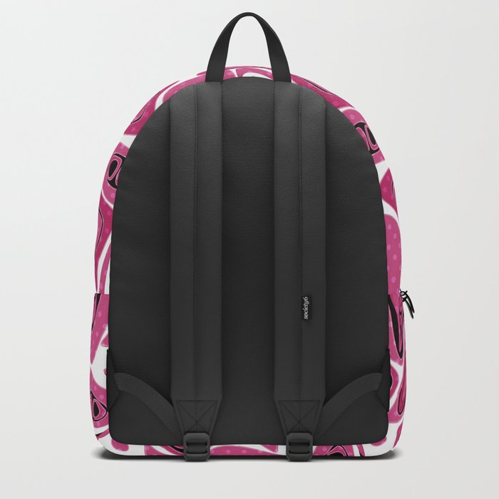 Abstract raspberry black pattern. Backpack
