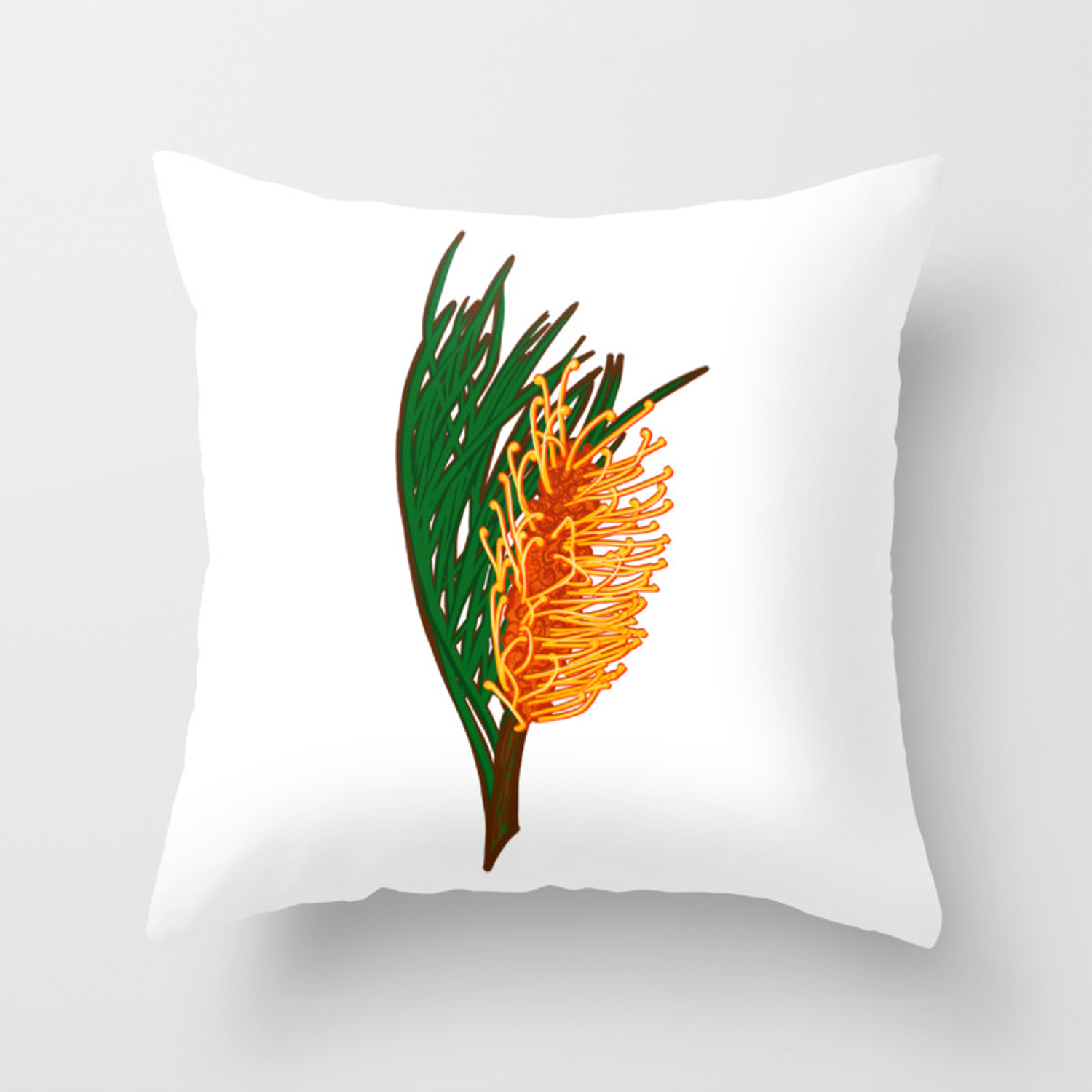 Australian Native Floral Illustration Beautiful Banksia Flower Throw Pillow By Annaleebeer Society6