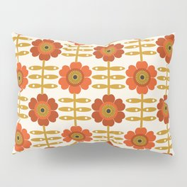 Famoo - floral retro 70s style throwback 1970's flower pattern Pillow Sham