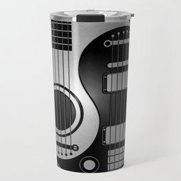 Guitar Yin Yang Gray and Black Travel Mug