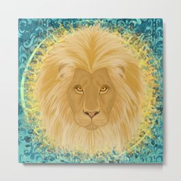Lion Sun King Metal Print
