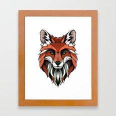 Fox // Colored Framed Art Print