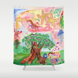 Medilludesign - Lucid dreams - flying in the sea Shower Curtain