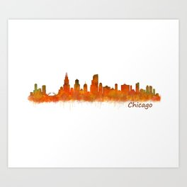 Chicago City Skyline Hq v2 Art Print
