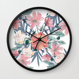 Elegant pink and blue watercolor floral design Wall Clock