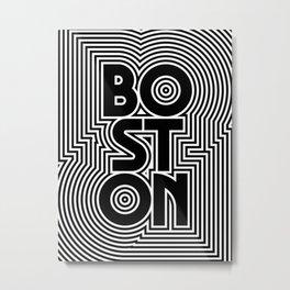 Boston City Text Pattern USA Metal Print