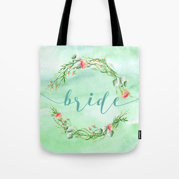 Bride Modern Typography Pink Roses Wreath Tote Bag