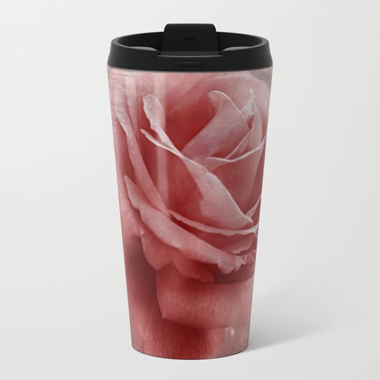Vintage Dusty Rose Metal Travel Mug