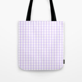 Chalky Pale Lilac Pastel and White Gingham Check Plaid Tote Bag