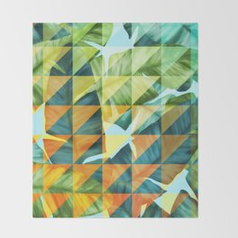 Abstract Geometric Tropical Banana Leaves Pattern Throw Blanket