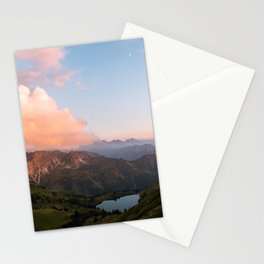 Mountain lake in Germany with Moon - landscape photography Stationery Cards