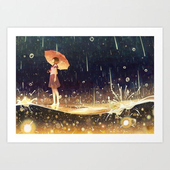 shower of meteors Art Print