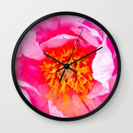 Peony Macro Illustration Wall Clock